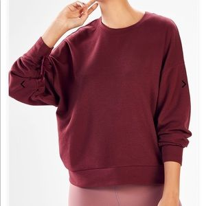 Fabletics Burgundy Pullover with Drawstring Sleeve